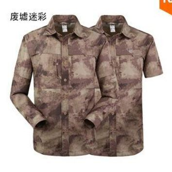 Hiking Shirt camping Summer Men Male Tactical Military Quick Drying TAD Camouflage Outdoors Army Detachable Short / Long Sleeve Fit Camo Sport Shirt KO_17_1