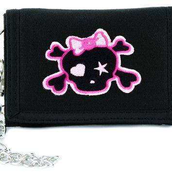 Pink Skull with Bow Tri-fold Wallet w/ Chain Rockabilly Clothing