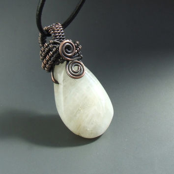 Moonstone necklace, rainbow moonstone necklace, gemstone jewelry, rustic copper necklace