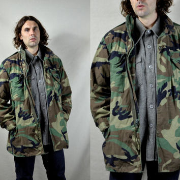 Vintage  80's Rambo Camouflage Us Army Military M-65 Field Jacket
