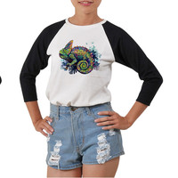 Women's Chameleon Printed Elbow Sleeves T- Shirt WTS_03