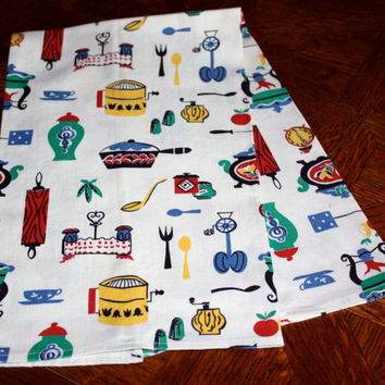 Retro Kitchen Towel / Multi-Colored / Kitchen Kitsch