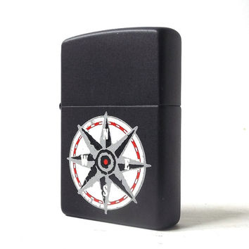 vintage 1990's zippo lighter matte black compass north star smoking cigarettes cigar retro modern metal mens womens collectible