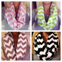 Chevron Flannel Infinity Scarf- Choose between 13 colors