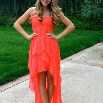 Sweetheart High Low Chiffon Strapless Homecoming Dress, Short Prom Dress