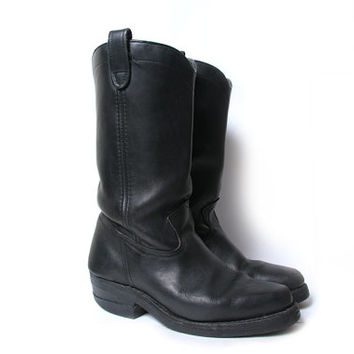 Vintage 90s Black Leather MADMAX  Motorcycle Cowboy Boots Size 10 womens US or 8.5 Mens US