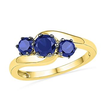 10kt Yellow Gold Womens Round Lab-Created Blue Sapphire 3-stone Ring 1-1/2 Cttw