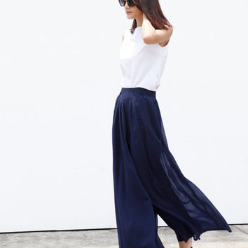 Fairy Casual Chiffon Wide leg Long Skirt Pants in Navy Blue - NC460