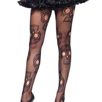 Leg Avenue Female Plus Size Sugar Skull Net Pantyhose 9982X
