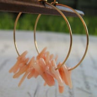 Pink Bamboo Coral and 14k Gold Filled Hoop Earrings by leprintemps