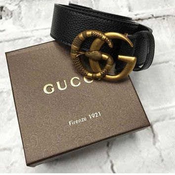 """Gucci"" Fashion Women Men Retro Leather Belt Metal Double G Letter Snake Needle Buckle Cowhide Genuine Leather Belt Waistband I"
