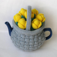 """Tea cozy. Teapot cosy. Crochet Tea Cozy. Knitted Tea Cosy. Tea Party. Tea Gifts. Tea cozies. Teapot cosy """"Basket with   tulips""""."""