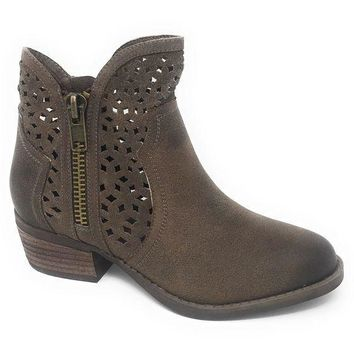 ICIKAB3 Not Rated Etta Taupe Cut-Out Ankle Booties