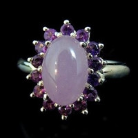 Amethyst Ring Sterling Silver Cocktail 1.86 ctw