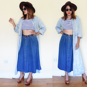 Vintage bleached light wash soft denim jeans coat dress maxi button down blue shirt.