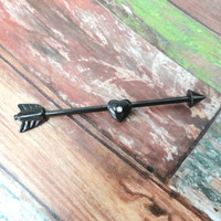 Black Arrow and Heart Industrial Barbell Piercing Upper Double Ear Piercing