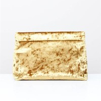 Acne Oxide Velvet Clutch-Gold