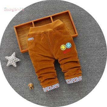 Casual Warm Winter Kids Cartoon Smile Boys Girls Full Length Corduroy Thicken Trousers Baby Infants Velvet Long Pants S5976