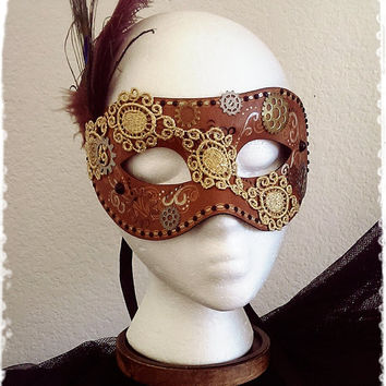 "Venetian Steampunk Masquerade Ball Eye Mask-Brown Leather, Gold Lace with Gear and Peacock Feather Mask-Neo Victorian Halloween Mask-""DUSK"""