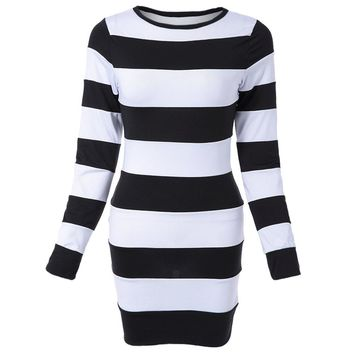 Sexy Jewel Neck Long Sleeve Striped Dress For Women