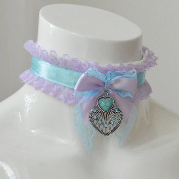 Pure hearted princess - lilac and blue princess lace collar with heart pendant in front - kawaii cute kitten space pet play kittenplay ddlg