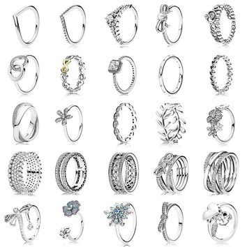 25 Style 925 Sterling Silver Ring Charm Princess Crown Flower Heart Silver Charms Finger Ring For Women Jewelry