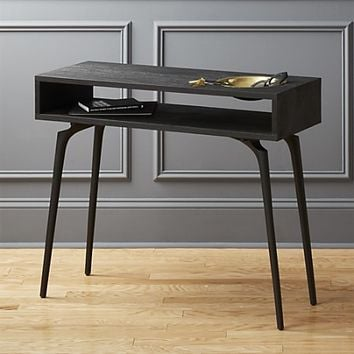unwind black console table