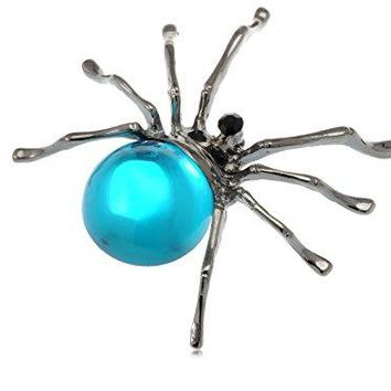 Alilang Gunmetal Aqua Blue Beaded Body Tarantula Halloween Spider Rhinestone Pin Brooch