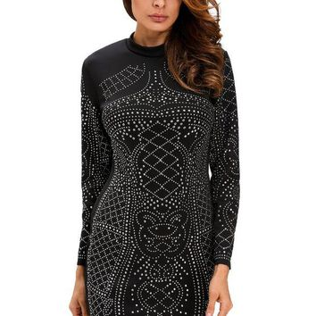CUPUP9G Black Studded Long Sleeves Dress