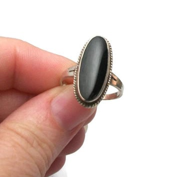 Vintage 925 Sterling Silver Black Onyx Ring - Elongated Oval Onyx Stone - Size 7 Ring Stamped 925 - Womens Mens Unisex Jewelry - Boho