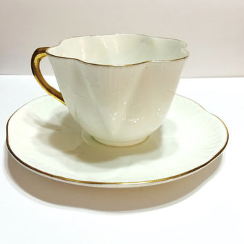 Vintage Shelley Tea Cup, Elegant Dainty Style, Pure White with Gold Rims, 1950s, Wedding Gift