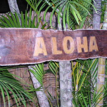 """Aloha"" Sign Drift Wood w/ Rope 40"" - Tropical Decor"