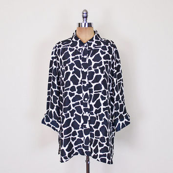 Black & White Giraffe Print Shirt Animal Print Blouse Novelty Print Top 100% Silk Shirt Oversize Shirt Button Up 80s 90s S M L XL XXL 1X