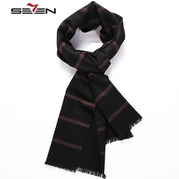 Seven7 Brand Newes Winter Fashion Casual Scarves High Quality Warm Men's Scarf Classic Fashion Stripe luxury Scarves 109F00160