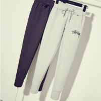 """STUSSY"" Haroun pants embroidery Sweatpants who show thin foot trousers easy leisure trousers"