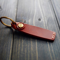 Mens Leather Key Chain , Custom Leather Key Holder , Key Chain with Initials , Personalized Key Holder , Gift for Dad , Free Engraving