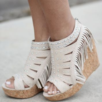 Frolic In Fringe Cream Wedges