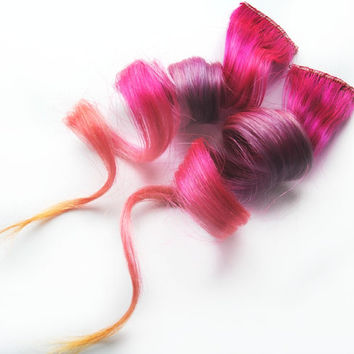 Human Hair Extension, Spring extension hair, extension, pink, lavender, orange, peach clip in hair, Tie Dye Colored Hair - Cha Cha