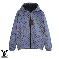 LV fashion casual couple print coat hot selling colorful fluorescent reflective trench coat coat LV Print Blue