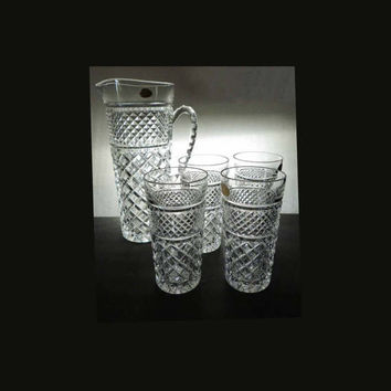 Echt Bleikristall Gepresst Tall All Crystal Pitcher Set w/ Four Drink Glasses Vintage 1950s Western Germany