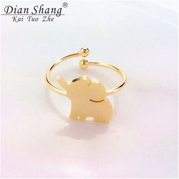 Dainty Elephant Knuckle Ring For Women And Men Silver Plated Adjustable Animal ring