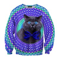 ZLYC Dazzle Geometric Cat Print Casual Sweatshirt for Women (M)