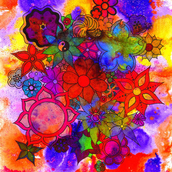 Flowers, wall art, original, illustration, Floral drawing, Bright, Colorful, Pen and ink, Summer, Uplifting, Positive, Drawing, Hippie