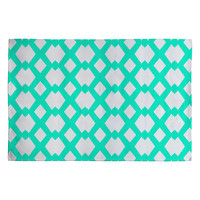 Lisa Argyropoulos Daffy Lattice Aqua Woven Rug