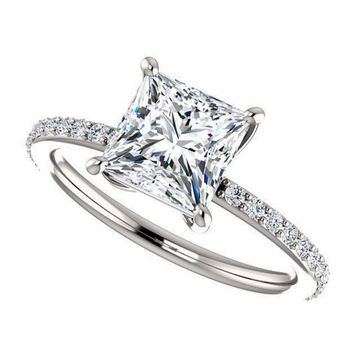 sloan ring - forever one moissanite engagement ring in platinum
