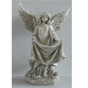 "23.25"" Standing Religious Angel Outdoor Garden Bird Bath or Feeder Statue"
