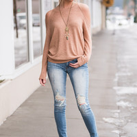 Coffee Catch Up Cold Shoulder Long Sleeve Top (Blush)