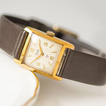 Square women wristwatch Glory, gold plated women watch, classical watch small, mechanical watch 70s, minimal watch, new luxury leather strap