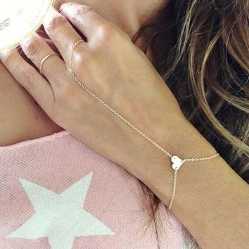 ONETOW Fashion simple metal heart-shaped peach heart bracelet chain bracelet