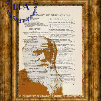 Scientist Charles Darwin Orange Poster Art - Vintage Dictionary Page Art Print Upcycled Page Print, Evolution Theory